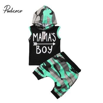 bf018d0b8e0a0 2018 marka yeni yürüyor bebek bebek çocuk erkek kıyafetler kolsuz Hoodie  T-shirt üst + pantolon PP şort Camo 2 PCS set yaz giyim