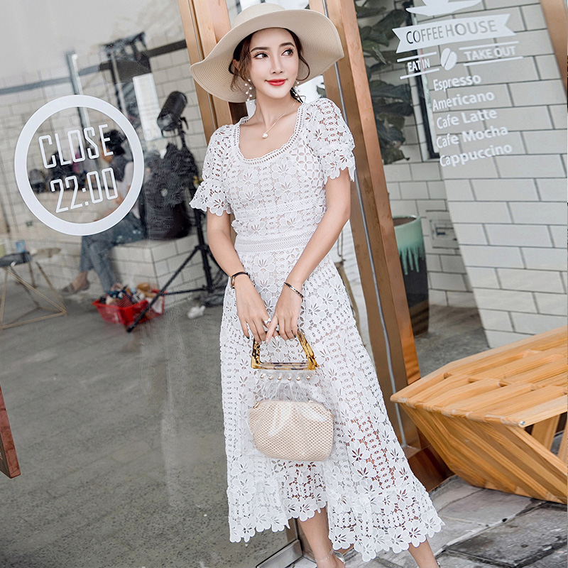 bda1401c92c4 HAMALIE Self Portrait Style Lace Summer Dress 2018 Runway Women White  Hollow Out Crochet Floral High Waist Short Sleeve Dress-in Dresses from  Women's ...