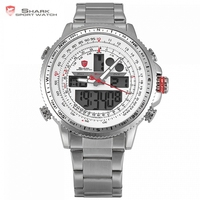 Genuine SHARK Brand LCD Digital White Dual Time Date Day Alarm Stopwatch Silver Steel Strap Mens