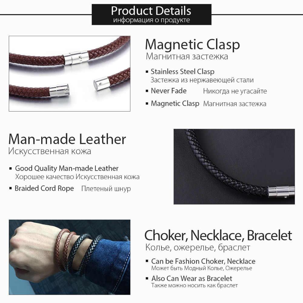 Colar de aço inoxidável de cor prata 4/6/8mm lunm09 preto marrom fino trançado cabo corda homem feito colar de couro para homem chocker