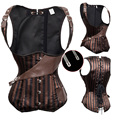 Striped Steampunk Underbust Corset Waist Trainer Sprial Steel Boned Corsets And Bustiers Top Burlesque Corselet Pirate S-6XL TYQ