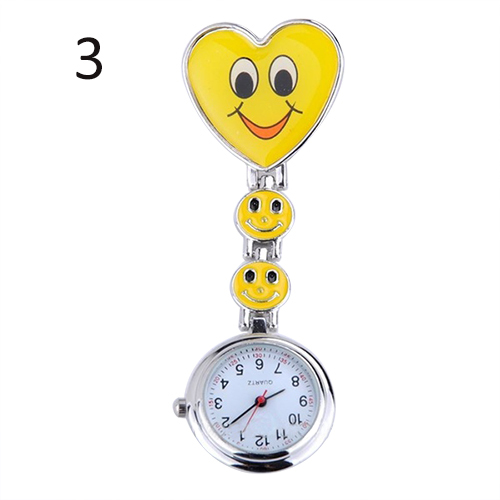 Купить с кэшбэком Popular Women's Cute Smiling Faces Heart Clip-On Pendant Nurse Fob Brooch Pocket  Watch