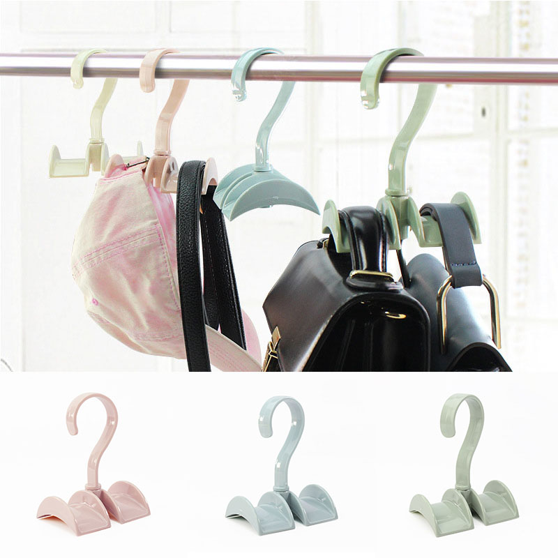 Wardrobe Organizer Rotated Storage Rack Bag Hanger Without Punch Clothes Plastic Rack Tie Coat Closet Hanger Mall Supplies