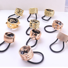Fashion Women Gold Rose Pink Gold Plated Hollow Out Imitated Alloy Geometric Ponytail Punk Style Hair Ties Circle Hair Bands punk style alloy hollow out body chain for women