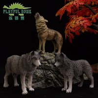Zabawny Domu 3 sztuk Wilk Model Set Dzikich Zwierząt Akcja Mini Figma Anime Figures Jakości Dobrej Chińskiej Marki Zabawki 1/6 Dla Dzieci Dziecko