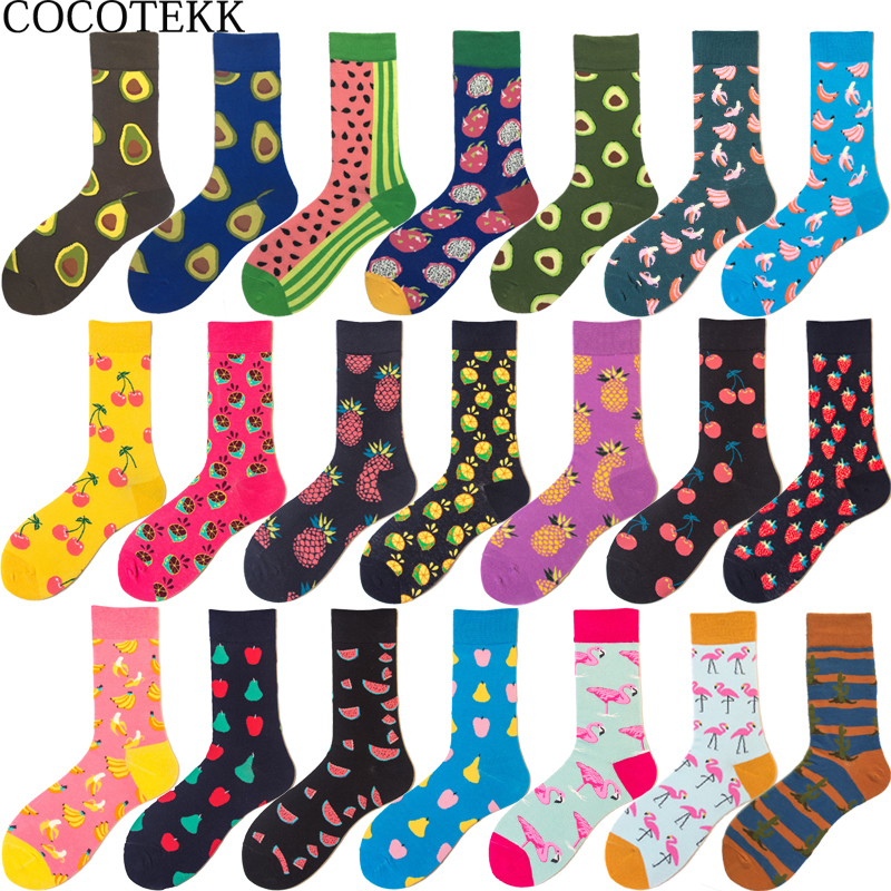 Brand Quality Hot Fashion Men's Combed Cotton Wedding   Socks   Casual Business Crew   Sock   Colorful Happy   Socks   Fruit Pattern Novelty