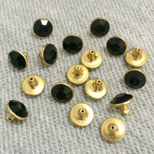 100Sets 8.5MM CZ+++ Gold Plated Black Crystal Rivets Rhineston Rivets Fit for Bags Shoes Belts Dress DIY Jewelry Shipping Free