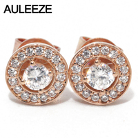 AULEEZE Classic 18K Rose Gold Stud Earrings Natural Real Diamond Lady Engagement Wedding Earrings