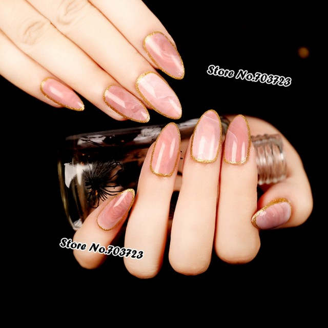 Online Shop Shiny Pink marble nail design Tips Grace Tip top false ...