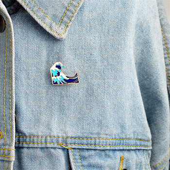 Cartoon Blue Waves Pins Brooch Pins Childlike Button Glaze Pin Denim Jacket Pin Badge Jewelry Gift For Kids Friends image