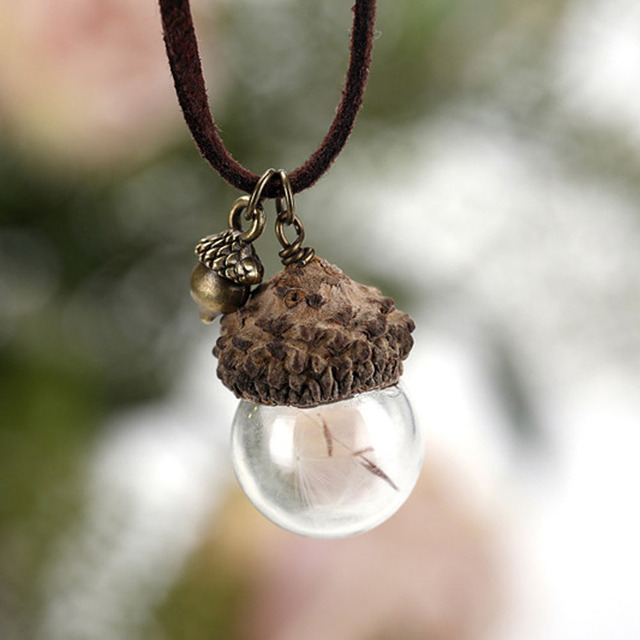 Fashion Glass Ball Dandelion Seed Hazelnut  Acorn Necklace Shape Necklace Send Family To Send Friends Fashion Jewelry