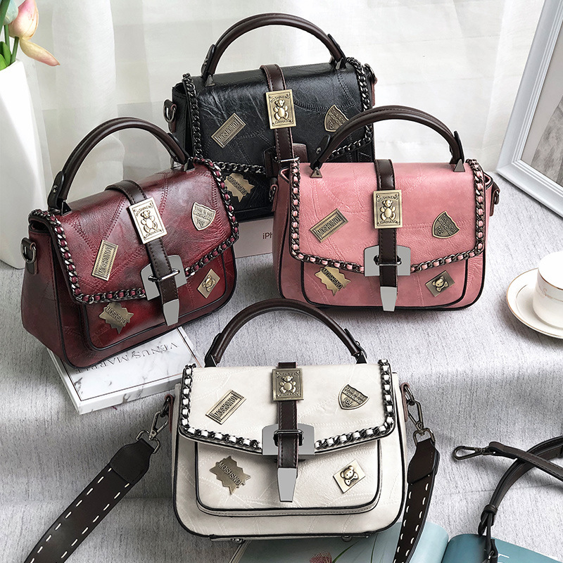 British Fashion Retro Female Handbag 2018 New High quality PU Leather Women bag Rivet Tote bag Portable Shoulder Messenger Bag
