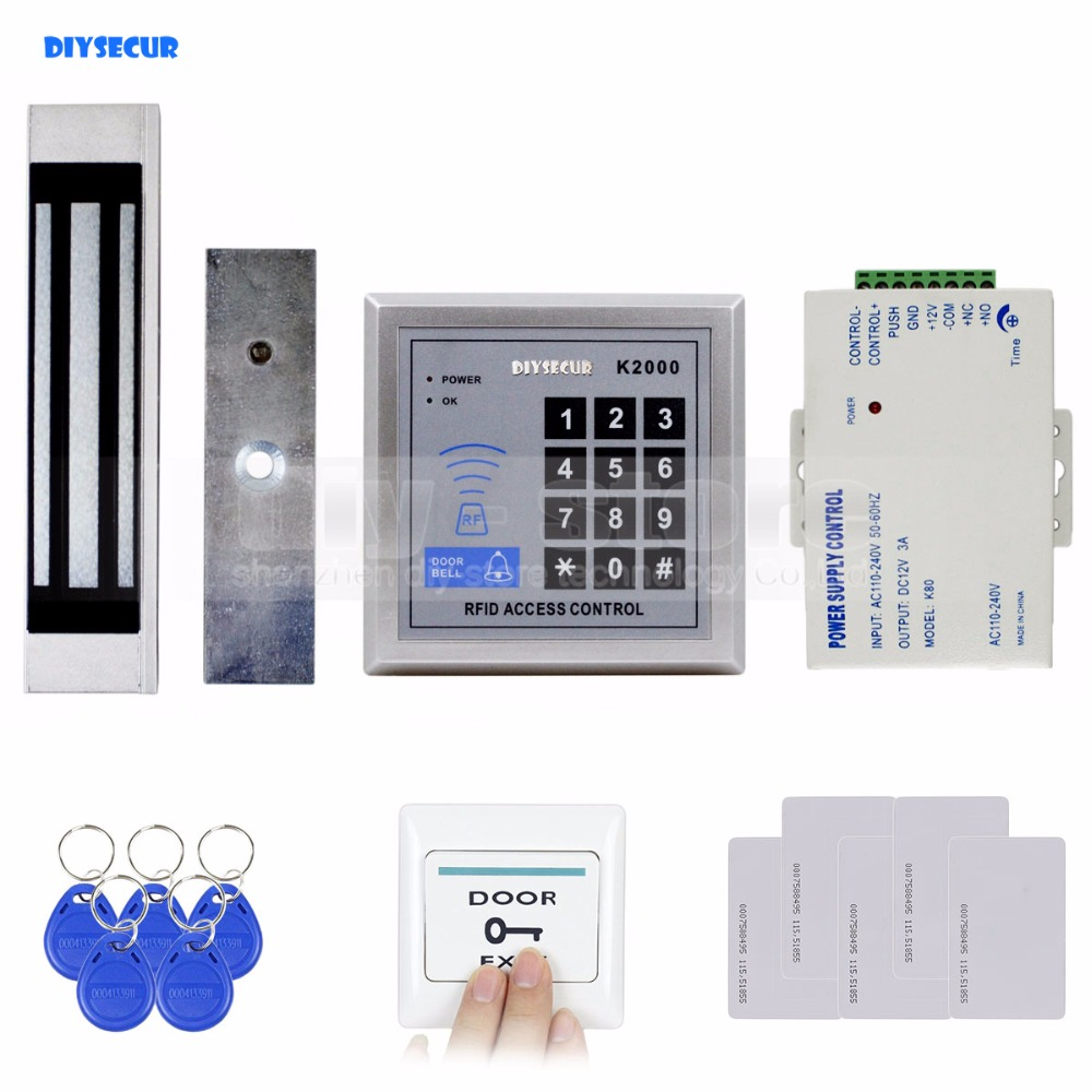 DIYSECUR 125KHz Rfid Card Reader Keypad Door Access Control Security System Kit + 180Kg Electric Magnetic Lock Door Bell Button 125khz rfid card access control video door phone system wired 7 inch color screen video door bell with rfid card reader