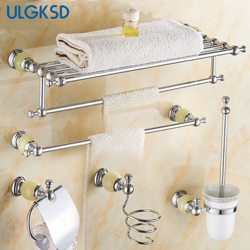 Ulgksd Bathroom Hardware  Paper Tissue Holder +towel shelves + toilet brush holder + hair dryer bath accessories free shipping ba9105 bathroom accessories brass black bronze toilet paper holder