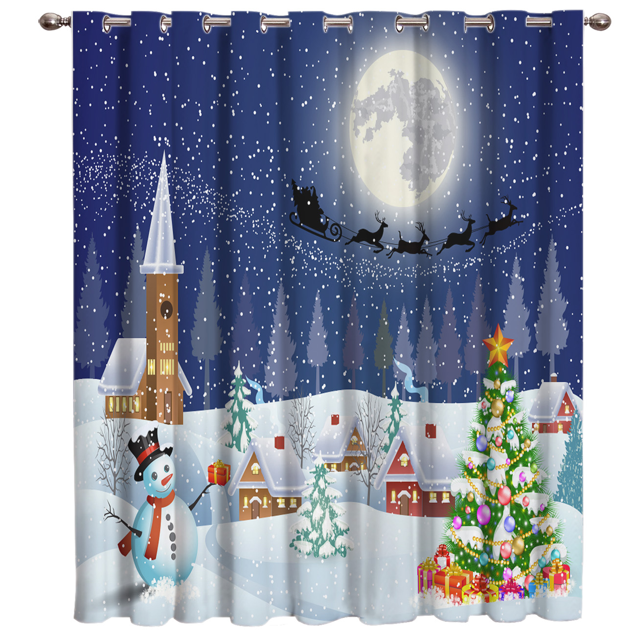 Merry Christams Snow Winter Decor Bathroom Bedroom Outdoor Kitchen Indoor Decor Kids Curtain Panels With Grommets Window