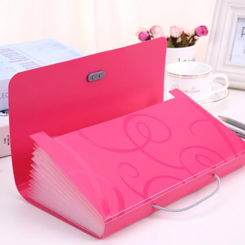 Candy Color File Folder Small Document Bags Expanding Wallet Bill Folders For Documents Blue Pink File Holder