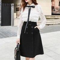 Dabuwawa Autumn Winter Knee Length A Line Skirt British Style High Waist Skirt With Pocket Women Skirts #D17CSK020