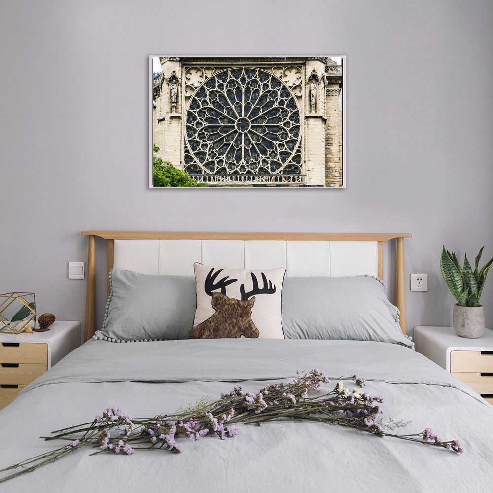 Notre Dame Rose Window Cathedral in Paris France Photo Art Print Poster 18x12 in