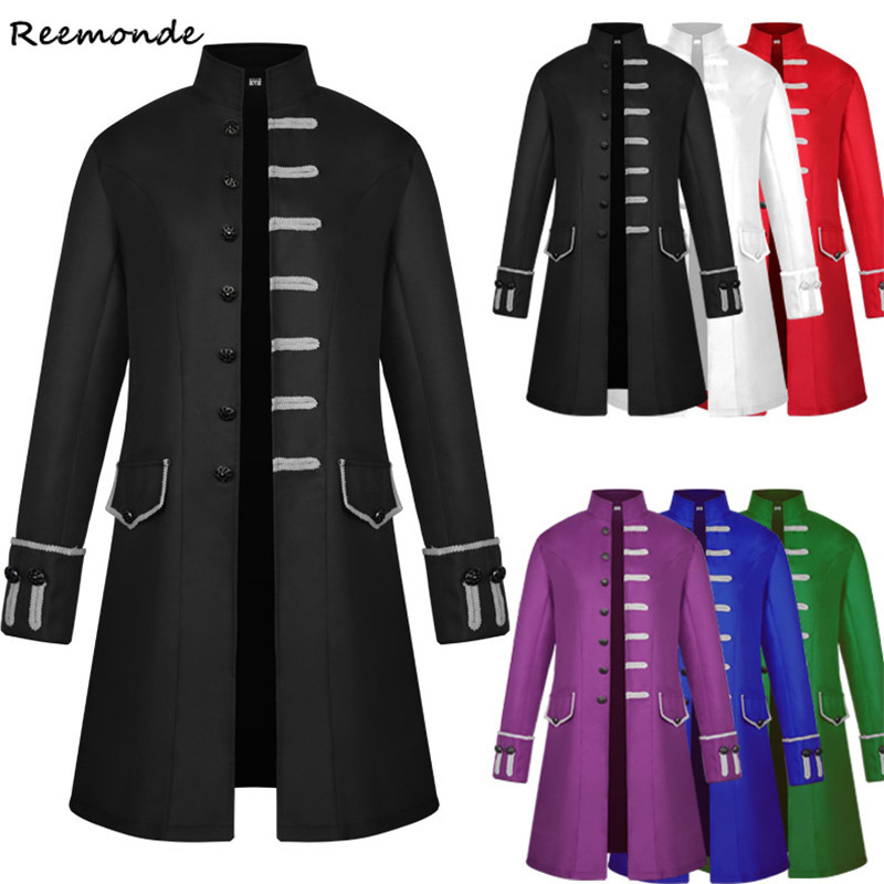 Adult Men Victorian Costumes Solid Color Tuxedo Tailcoat Jacket Steampunk Trench Coat Frock Outfit Gothic Retro Overcoat Uniform