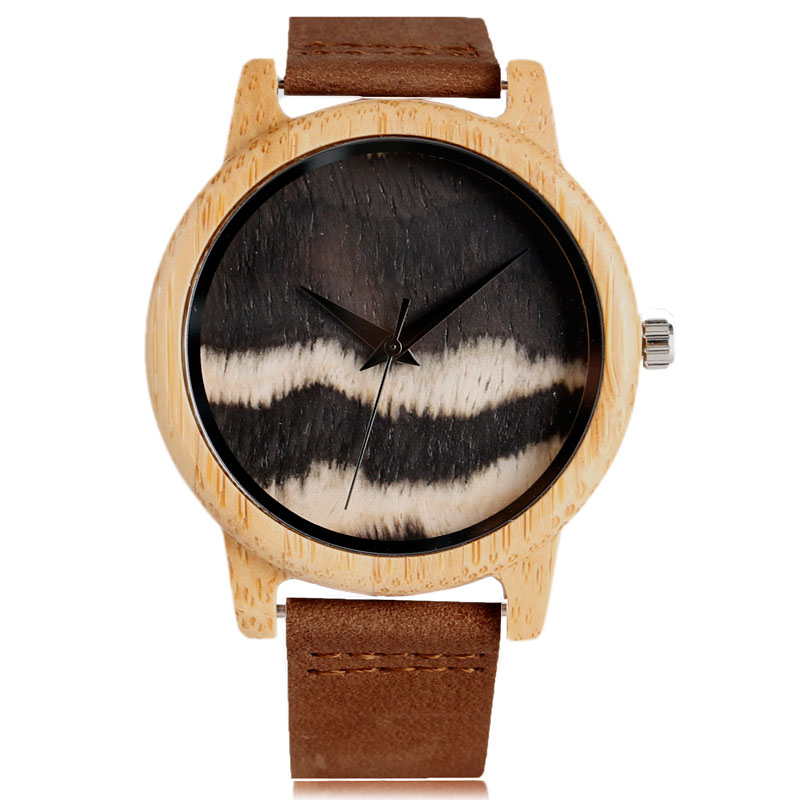 Fashion Wave Dial Quartz Analog Wooden Watch Men Women Nature Wood Bamboo Wristwatches Brown Genuine Leather Band Strap Gift