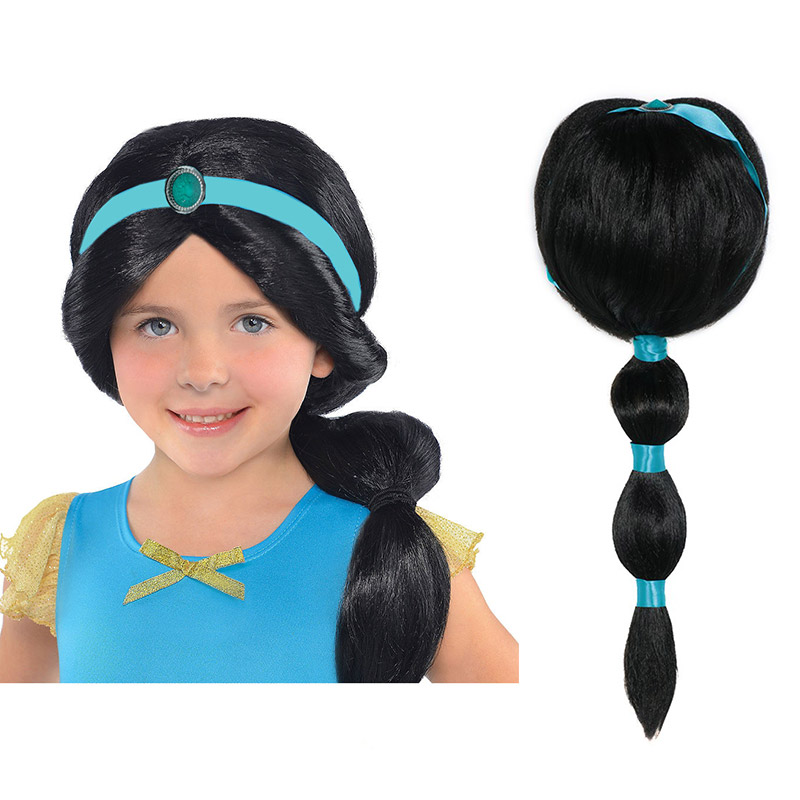 Girls Princess Jasmine Cosplay Accessory Wig Rapunzel Fairy Tale Rapunzel Braid Synthetic Hair Mermaid Elsa Anna Comic Con Wig