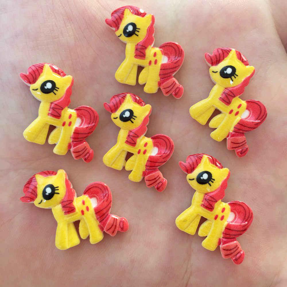 10PCS Resin Hand-paint Cute Horse Flatback Stone Child Scrapbook Buttons Crafts