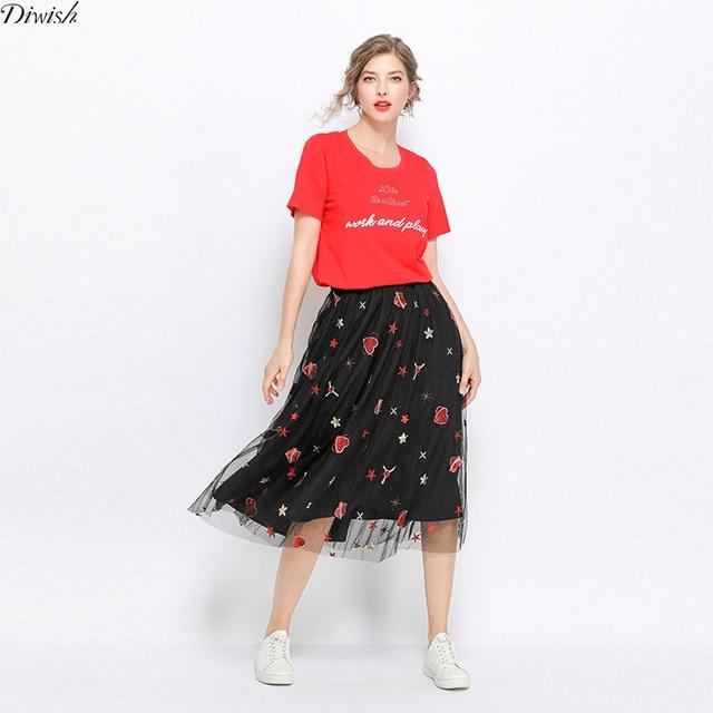 Diwish Plus Size Women Red T-shirt Summer Letters Embroidery O-Neck Sexy Fashion Elegant Streetwear T Shirt Women T Shirts