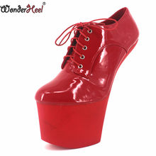 Wonderheel New extreme high heel 20cm heelless with platform lace up ankle ponying boots sexy fetish women hoof heels(China)