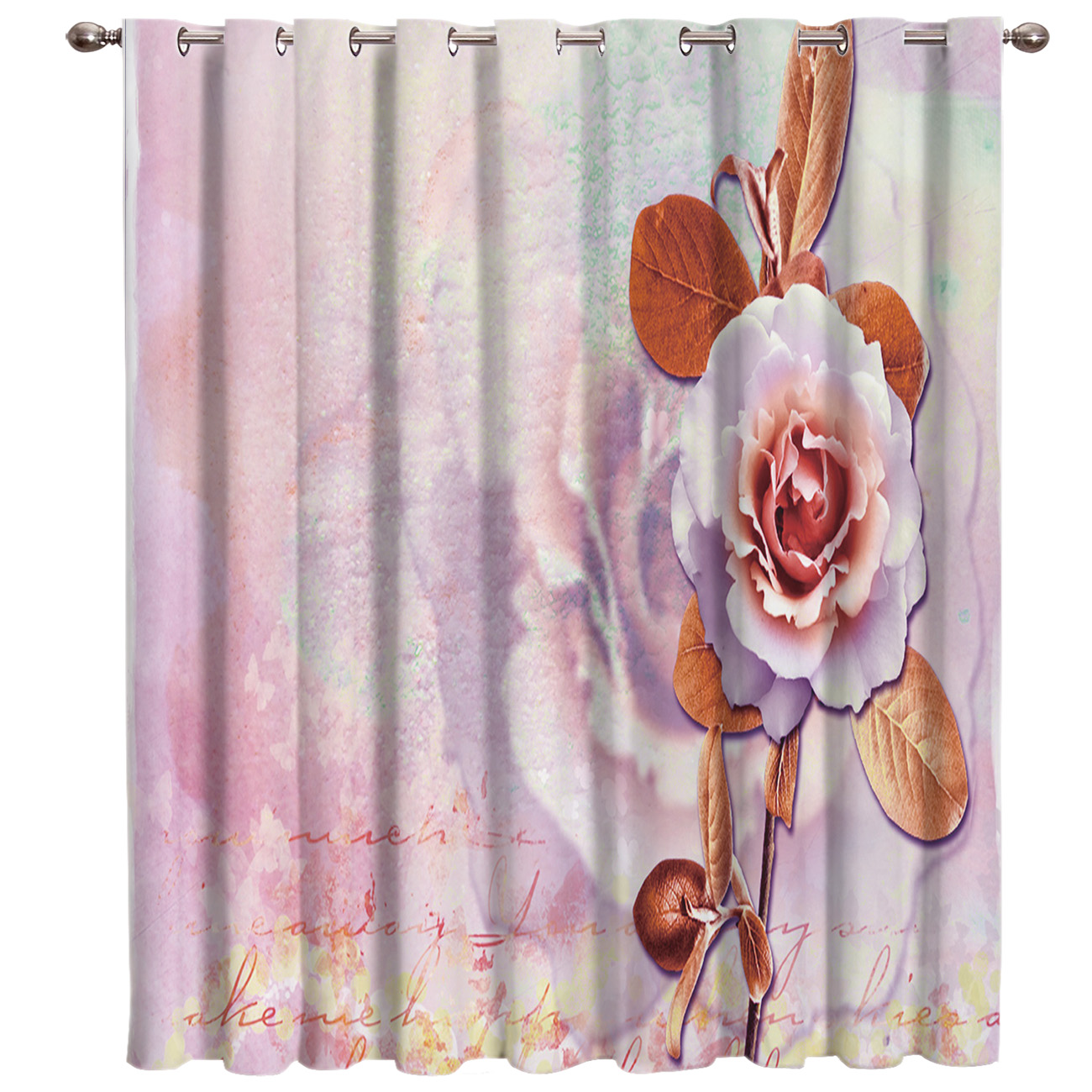 Vintage Chinese Rose Valentine's Day Flower Window Treatments Curtains Valance Bedroom Outdoor Decor Swag Window Treatment Sets