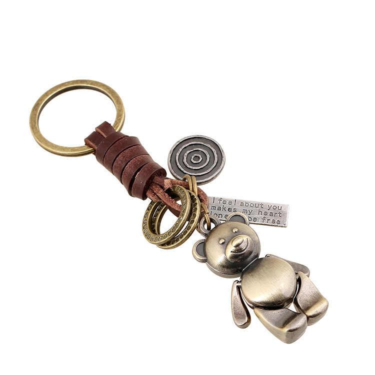 Mignon ours hommes porte-clés sac pendentif en cuir véritable tressé voiture porte-clés porte-anneau bijoux