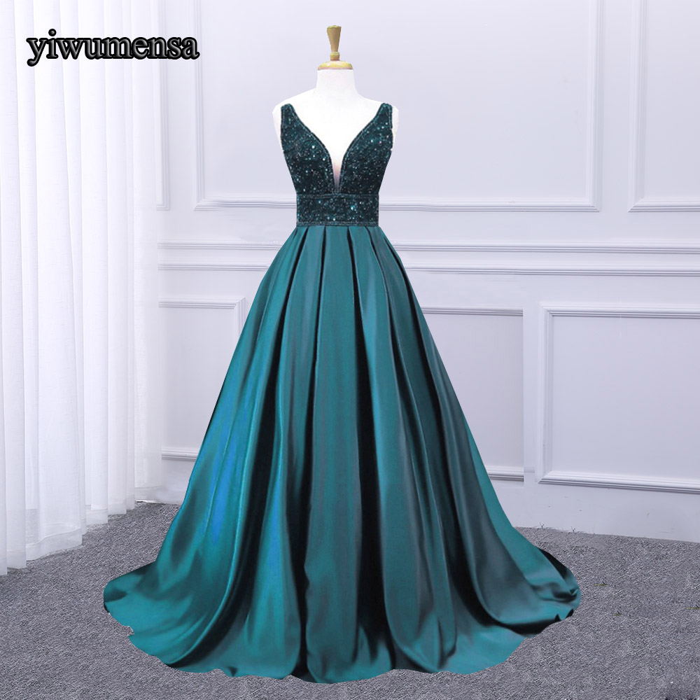 yiwumensa Vintage Sexy Deep V neck   Prom     Dress   2018 Heavy Beading Crystal Backless   Prom     Dresses   A line Party Gown Custom made