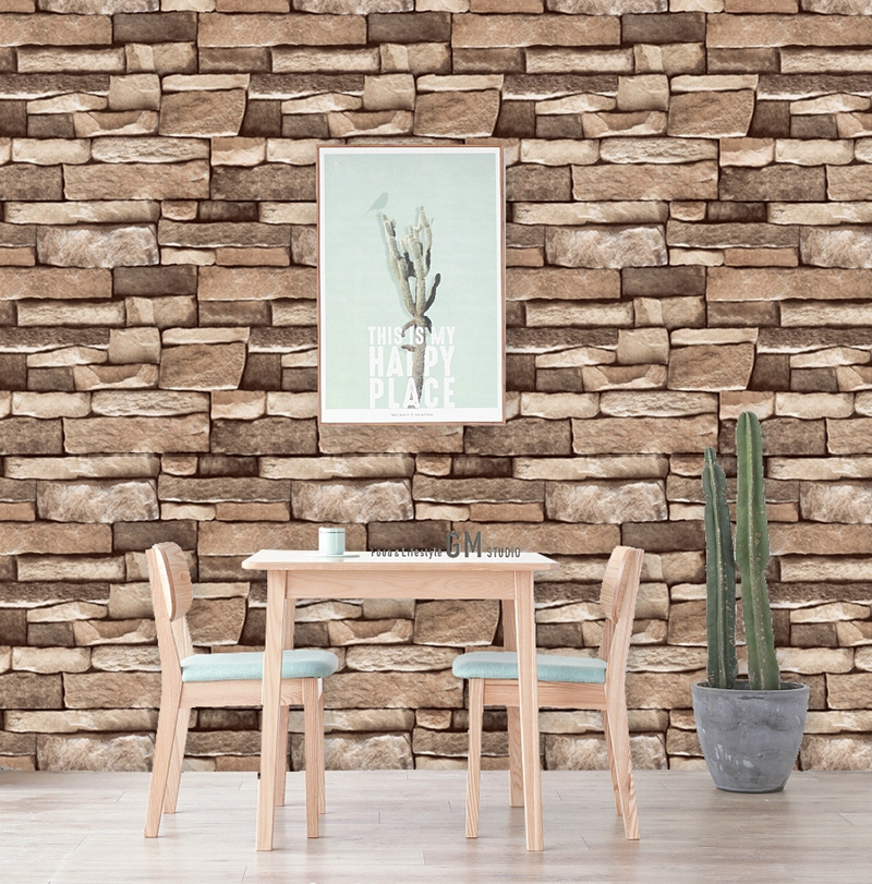 45cm*10m Retro Vintage 3D Brick Wall Paper Brick Pvc Wall Sticker Brick Self-adhesive Wallpaper For Home Decoration