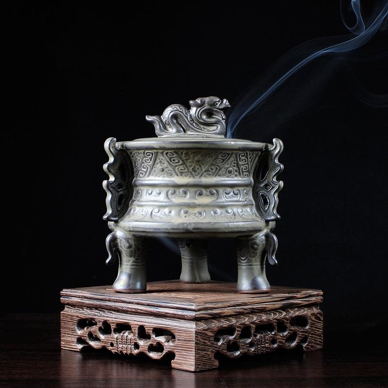 PINNY Ceramic Incense Burner Binaural Creative Stick Censer Sandalwood Aroma Furnace Buddhist Temple Ceramic Incense Burner