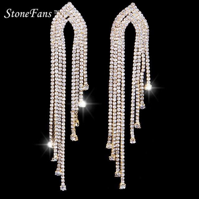 StoneFans серьги для Для женщин Модные украшения 2018 с горный хрусталь кисточкой Винтаж серьги длинные камень свадебные вечерние серьги
