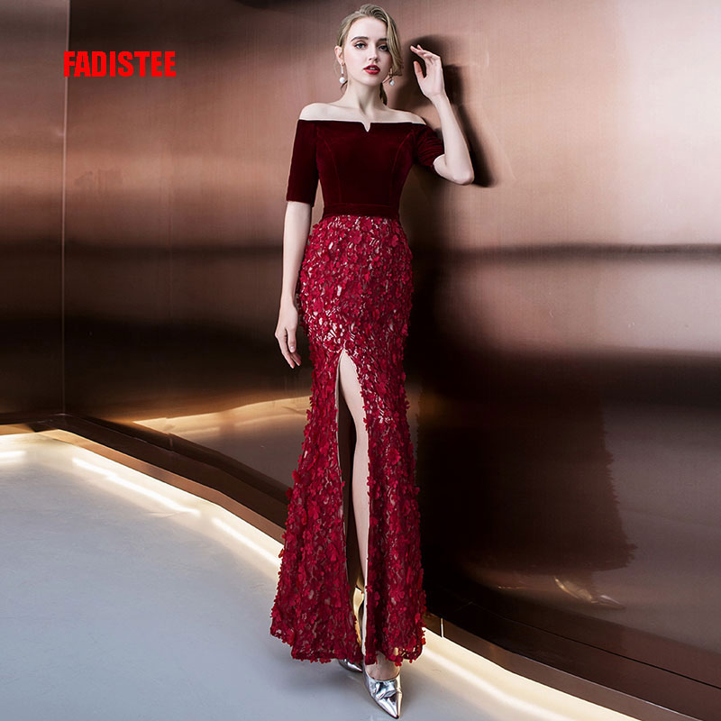 FADISTEE New arrival classic party   dress     evening     dresses   prom velour Vestido de Festa lace trumpet side slit long style