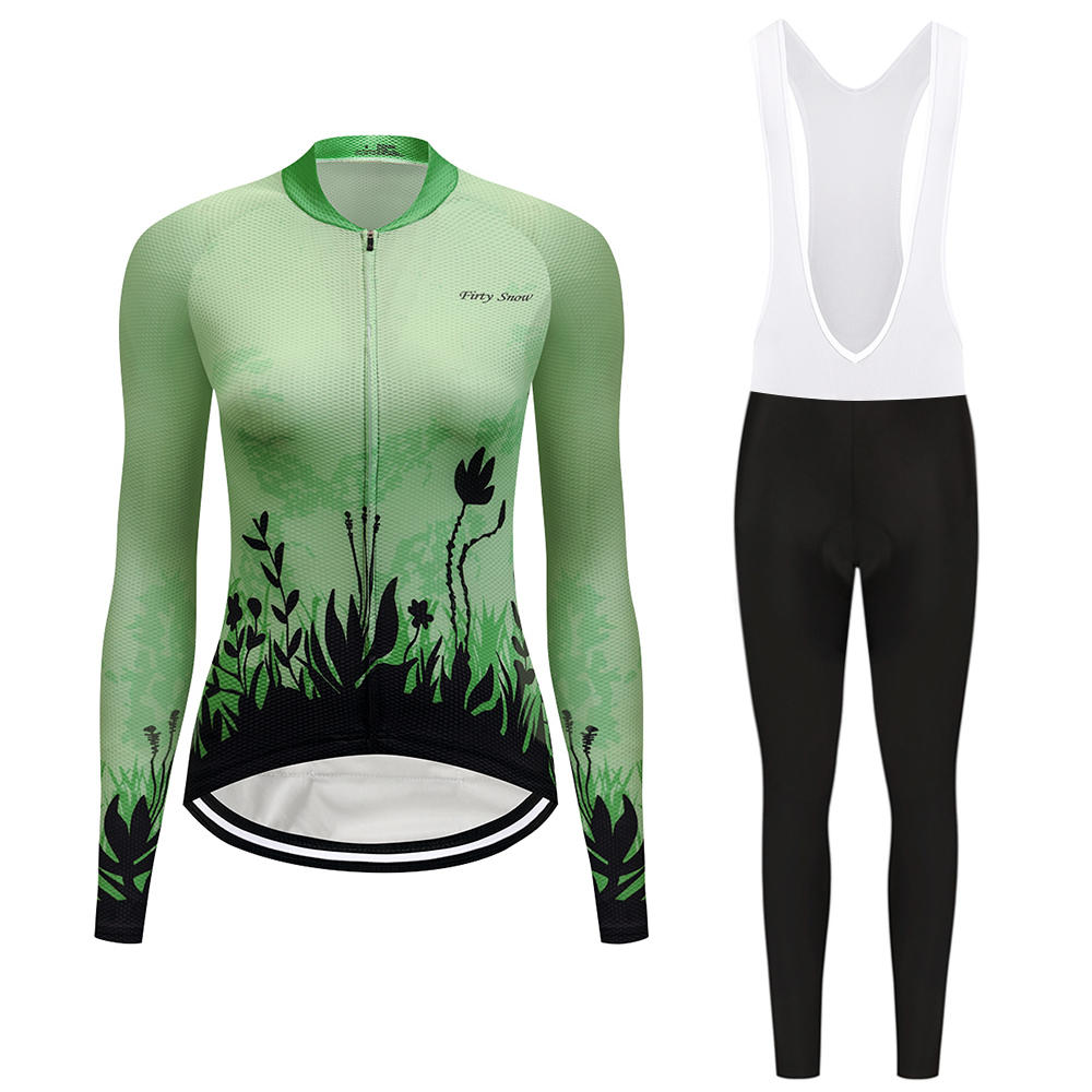 2018 breathable cycling jersey set women's bicycle clothing kit long sleeve mtb bike clothes suit wear maillot skinsuit dress