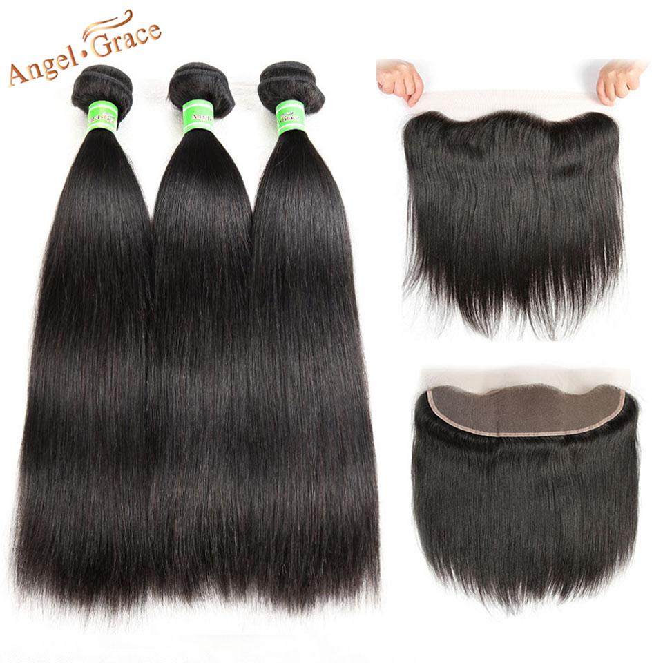 Peruvian Straight Hair Bundles With Frontal Angel Grace Hair With 13 4 Ear To Ear Lace
