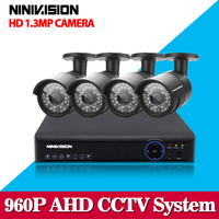 HD 4CH CCTV System 1 3MP 720P Real Time Surveillance AHD DVR KIT 4PCS Outdoor 2500TVL