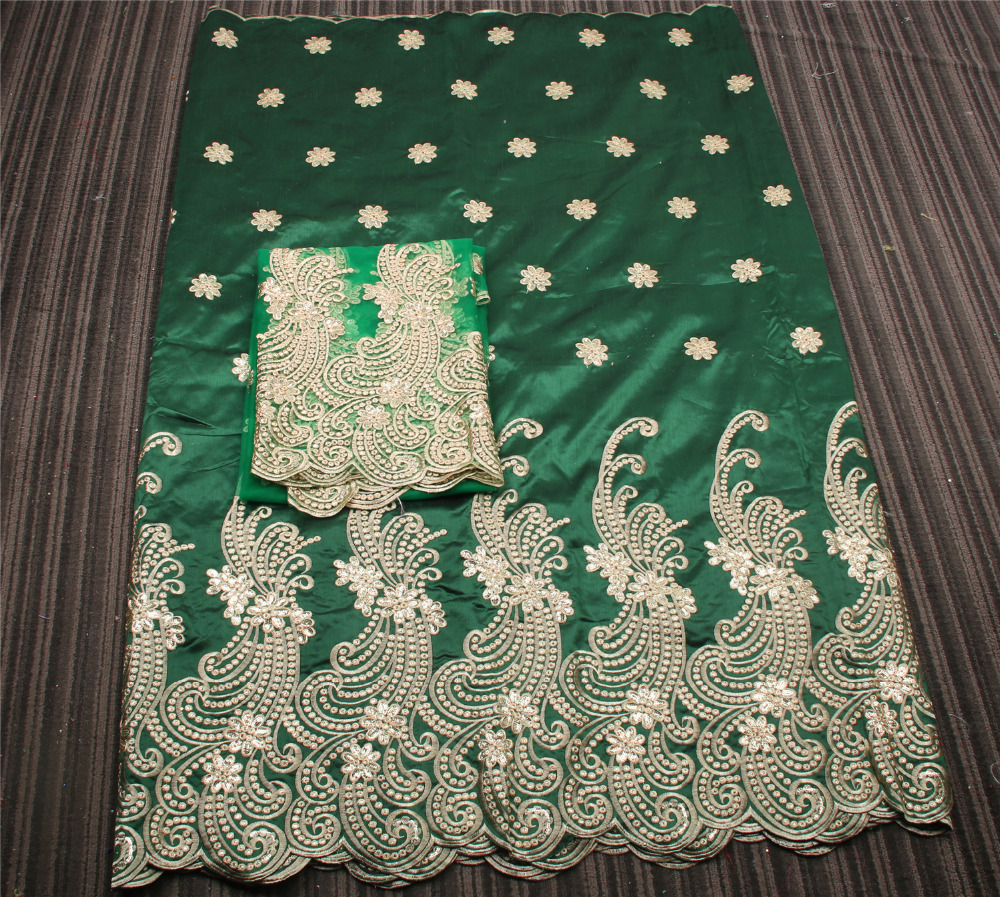 Latest African George Lace Fabric with 2yards Tulle Net