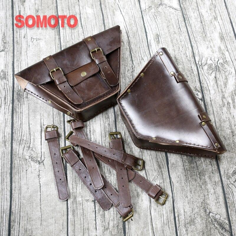 Universal Vintage Moto Sacoche En Cuir Sac De Stockage Sac À Outils Moto Sac D'eau mutt mash125 mash250 côté sac couverture