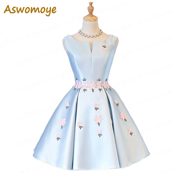 Aswomoye Elegant Short Evening Dress 2018 New Sky Blue Appliques Flower Prom Party Dress Back Lace Up robe de soiree