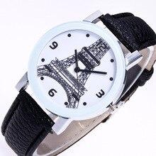 Творческий узор Эйфелева башня цифровой Весы белый сплав Циферблат черный 20 мм кожаный ремешок Для Мужчин's пары Кварцевые часы наручные часы c41