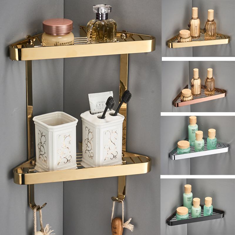 Corner Shelf Brass Bathroom Shower Rack Black Oil Bath Shower Shelf Bath Shower Caddy Rack Holder Wall Mounted Bathroom Shelf