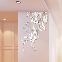 3D Diy Acrylic Mirror Stickers for Room Decoration Flower Wall Decals Sticker Living Room Bedroom Wall Decor Home Sticker