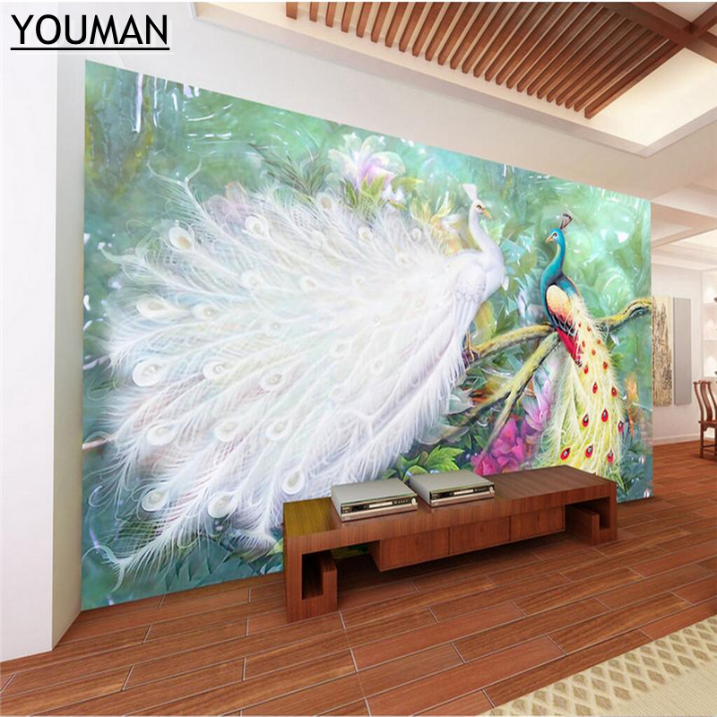 wallpapers youman Customize Photo Wallpaper in Wall Papers for Kitchen TV Background Living Room Bedroom Peacock Desktop Mural wallpapers youman custom modern decorate photo wallpaper bedroom living room large mural blue sky ocean reef scenery wallpaper