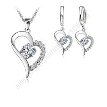 Bridal Jewelry Sets 925 Sterlng Silver Cubic Zircon Heart Shaped Pendant Necklace + Earrings