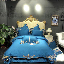 Luxury Gold Embroidery 100S Egyptian Cotton European Palace Bedding Set Blue Pink White Duvet Cover Bed sheet/Linen Pillowcases
