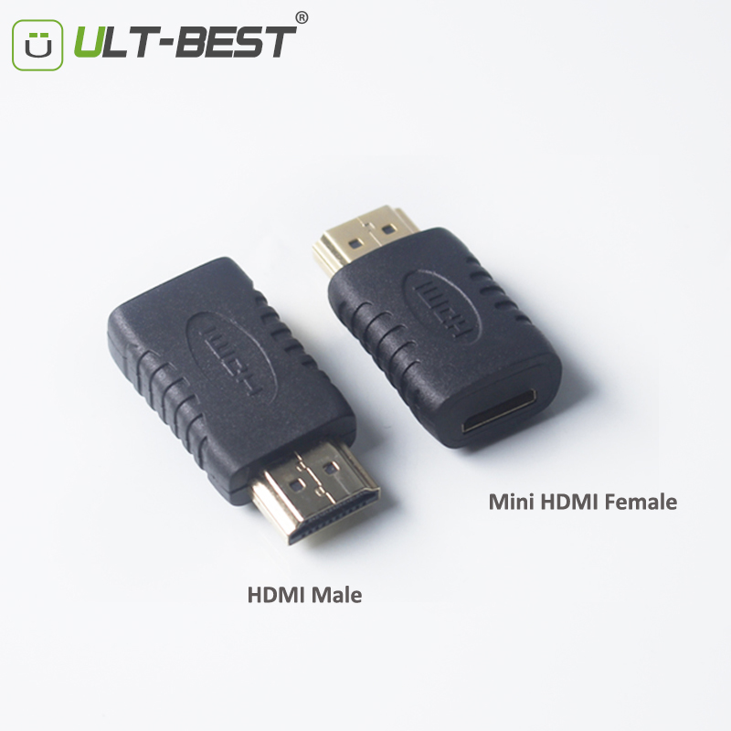 ULT-Best Mini HDMI female to HDMI male Adapter Converter Gold Plated Connector Cable for HDTV 1080P Xbox 360 ult unite ult 1209 usb 3 0 male to male gold plated data connection cable white 150cm