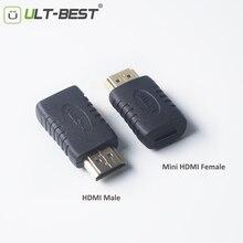 ULT ที่ดีที่สุดมินิHDMIหญิงชายhdmi A Dapterแปลงชุบทองเชื่อมต่อสายเคเบิ้ลสำหรับHDTV 1080จุดXbox 360