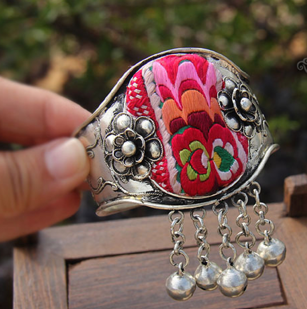 Original handmade old embroidered silver bracelet, vintage bell Bangles jewelry